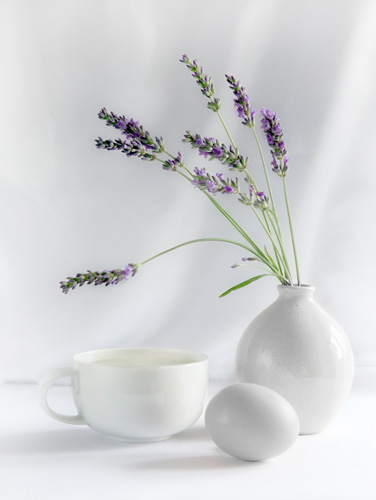 A photograph of Breakfast with lavender