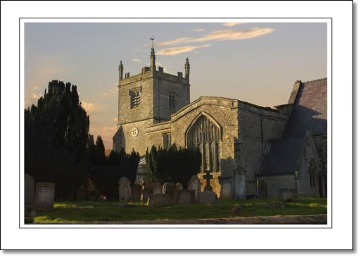 A photograph of Church at the sunset